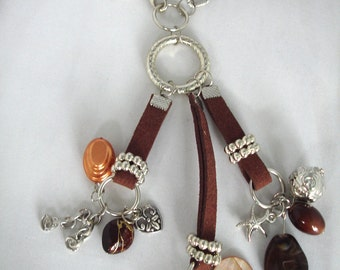 Brown - Silver Charm Necklace - Pendant: Chain, Rings, Starfish,Hearts, Shells, Acrylic Beads, Mother of Pearl
