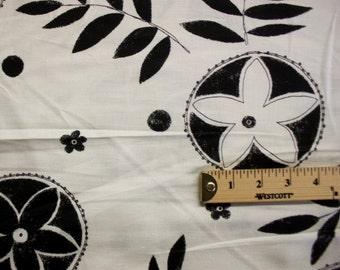 Black And White Nature Print Pattern Linen Fabric Per Yard