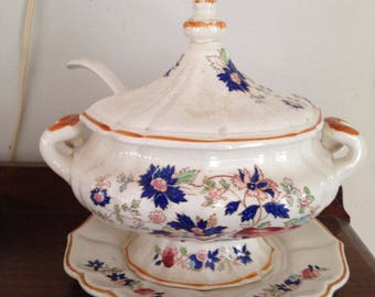 ANTIQUE CHINA SOUP Tureen, Elegant English Flower Soup Tureen and Ladle