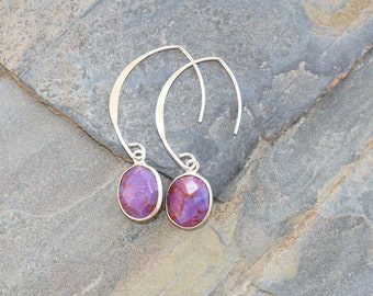 Purple Turquoise Earrings, Sterling Silver Earrings, Purple Earrings, Stone Earrings, Southwest Earrings, Purple Jewelry, Round Earrings