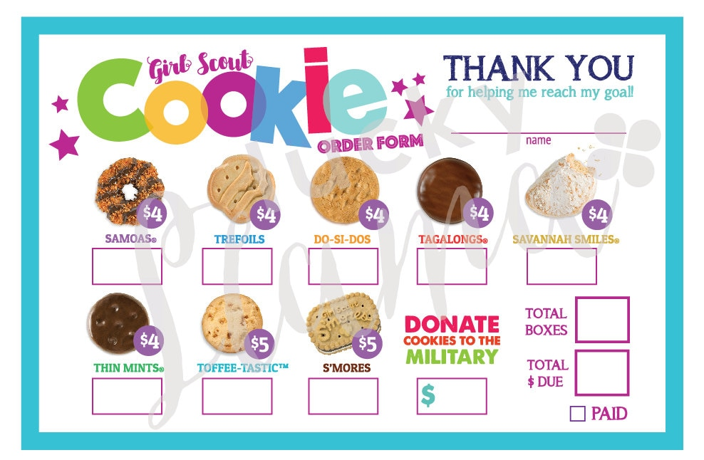 It is a graphic of Invaluable Printable Girl Scout Cookie Order Form