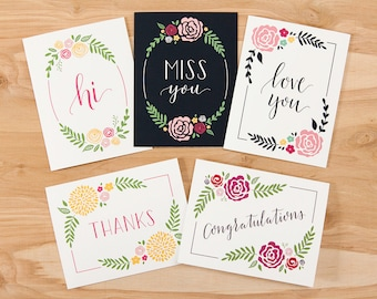 "Set of 10 – Calligraphy Greeting Cards – 4.25"" x 5.5"" – Hi, Miss You, Love You, Thanks, and Congratulations"