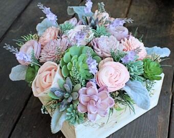 Floral Arrangement, Wedding Reception Centerpiece, Sola Flowers, Faux Succulents, Silk Flowers, Lambs Ear, Blush Lavender, Wood Planter Box