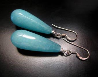 Blue Jade Teardrop Earrings, Faceted Blue Jade Teardrops, Sterling Silver, Blue Jade Jewelry, Teardrop Earrings, Long Blue Earrings