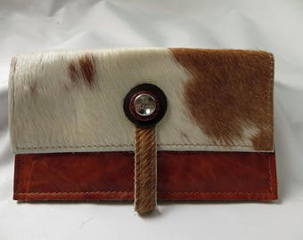 leather purs with brown/white cowhide
