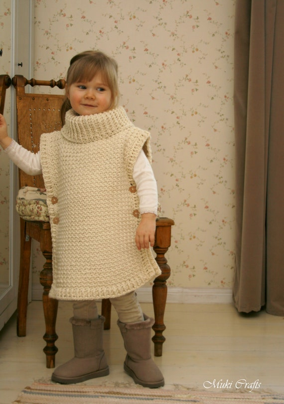 Crochet Pattern Poncho Scarlett With Turtleneck And Buttons