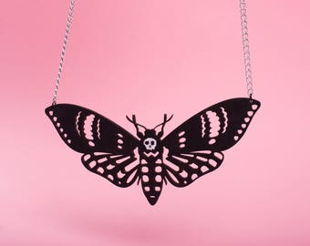 """DEATH MOTH"" hand-painted wooden necklace."