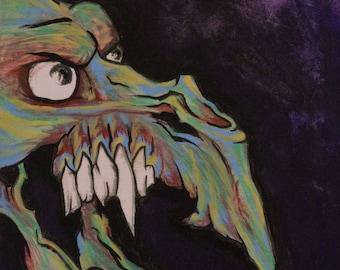 Dark Pop Surreal Art: Undead Vulture 8x10 inch Original Acrylic Painting