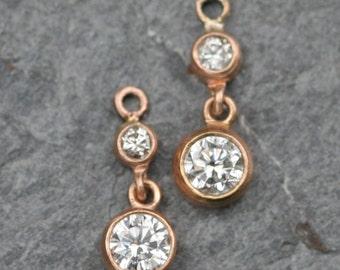 Diamond Drop Earrings in 14k Rose Gold Hoop Bezels Removeable Drops - JL661A