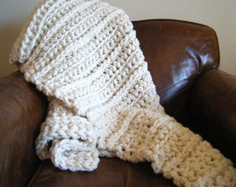 DIY Crochet Pattern:  Super chunky throw, ivory cream off-white, wool blend afghan, ribbed, blanket, InStAnT DoWnLoAd, Wy&Lo