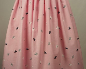 Adorable 1950's Novelty Print Cotton with Hands! Made into a classic 1950s style pleated skirt!