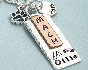 Dog Agility Title Necklace - Mixed Metal Hand Stamped Pendant  - Dog Agility Enthusiasts - Canine Agility Jewelry - MACH PACH ATCH AdCH