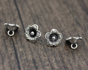 4 sterling silver flower charm, flower pendant,silver flower charm,DIY Findings for Bracelet and Necklace