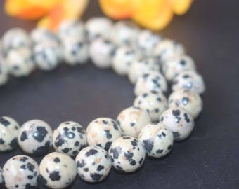 "Natural Dalmatian Jasper Round Beads,6mm 8mm 10mm Dalmatian Jasper beads,Gemstone Beads supply,15"" strand,Dalmatian beads"