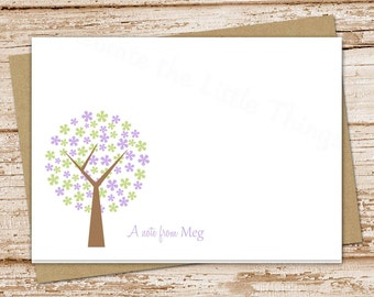 personalized flowering tree note cards, notecard set . folded stationery stationary . floral, purple flowers cards . set of 8