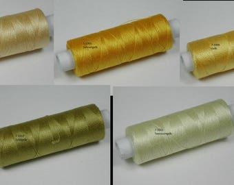 Cotton, knitting and crochet for miniature work, 1002 vanilla, 1005 sun yellow, 1006 yellow, 1019 golden, 1021 tea yellow