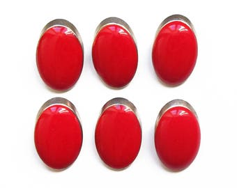 6 buttons round oval red enamel and silver metal 18 mm / top quality