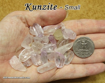 Kunzite (small) tumbled stone for crystal healing - Pink and Clear Spodumene