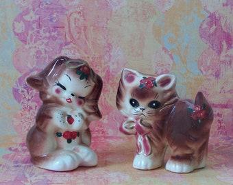 Vintage Reddish Brown Kitten and Puppy Figurine - Japan
