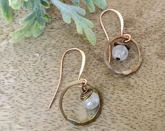 Tiny Copper Circle Earring