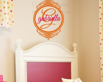"Children Vinyl Wall Decal - Initial and Name Monogram Vinyl Lettering with Frame Border 30""h x 22""w FN0087"