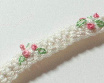 Baby Girls Headband in Bamboo with Embroidered flowers for Baptism
