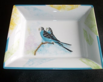 tidy rectangular /peint hand on porcelain / parakeets