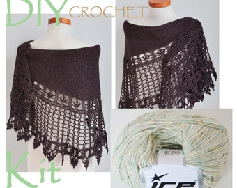 DIY Crochet Kit, Crochet shawl kit, Ilvy, Sammy OR Siobhan