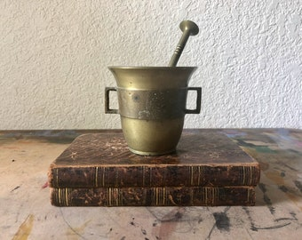 Antique Brass Mortar and Pestle, Apothecary Mortar and Pestle
