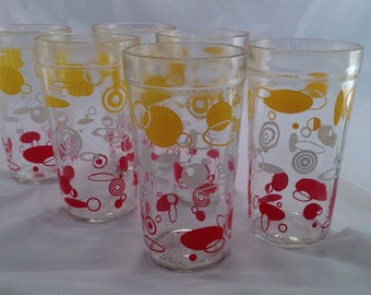Awesome vintage mid century retro atomic era looking set of 6 glasses