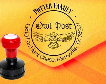 Owl Post Stamp, Harry Potter Stamp, Custom Address Stamp, Faux Postage Stamp, Hedwig Owl Stamp, Return Address Stamp Z34