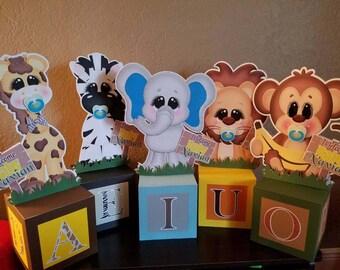 Baby block safari theme centerpiece