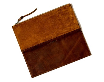 FOLDOVER CLUTCH Rust Brown • Oil Tanned Leather Bag Active