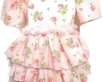 Childs Pink Rose Floral Dress Size 2