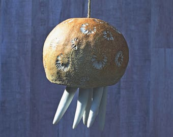Ceramic Wind Chime. Large Jellyfish hanging sculpture. Beach house art gift.  Wind bell. Textured ceramic bell sculpture.