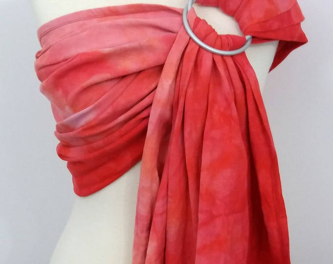 Watermelon Ring sling, wrap conversion ring sling, cotton - Linen, hand dyed, pink, peach