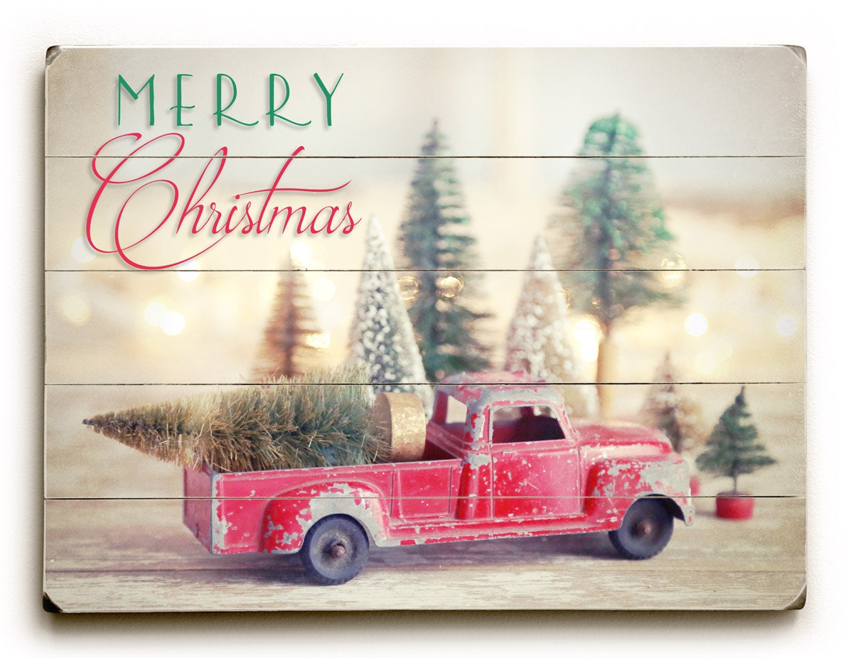 Wood Christmas Sign Christmas Red Truck And Trees Christmas