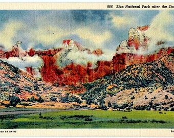 Vintage Utah Postcard - Zion National Park after the Storm (Unused)
