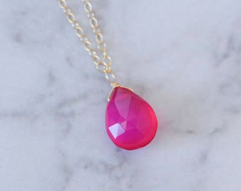 Hot pink necklace, pink chalcedony necklace, wire wrapped necklace, gemstone necklace, teardrop necklace