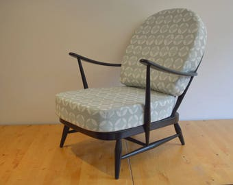 Vintage Ercol Black 203 Armchair with Exclusive Designer Covers