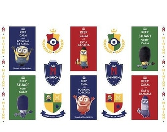"""Minions Multi Keep Calm Quilt Panel 100% cotton fabric by the Panel 43"""" X 24"""" (M23)"""