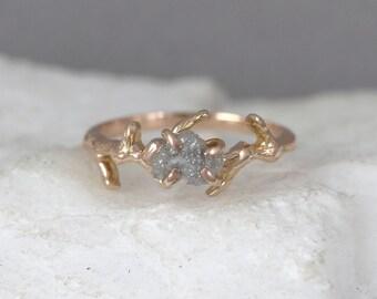 14K Rose Gold Twig Engagement Ring - Pink Gold Branch Ring - Raw Uncut Rough Diamond Ring - Tree Branch Wedding Ring - Woodland Inspired