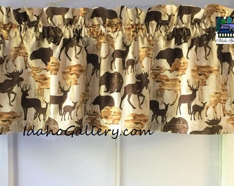 """Cabin Curtains 11"""" Long x 41"""" Wide Country Decor Moose Deer Bear Curtain Lodge Valance Woods Nature Wildlife Kitchen Curtain Bedroom Curtain"""