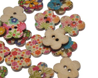 Set of 5 - 20 mm - flower floral theme - 2 holes wood buttons