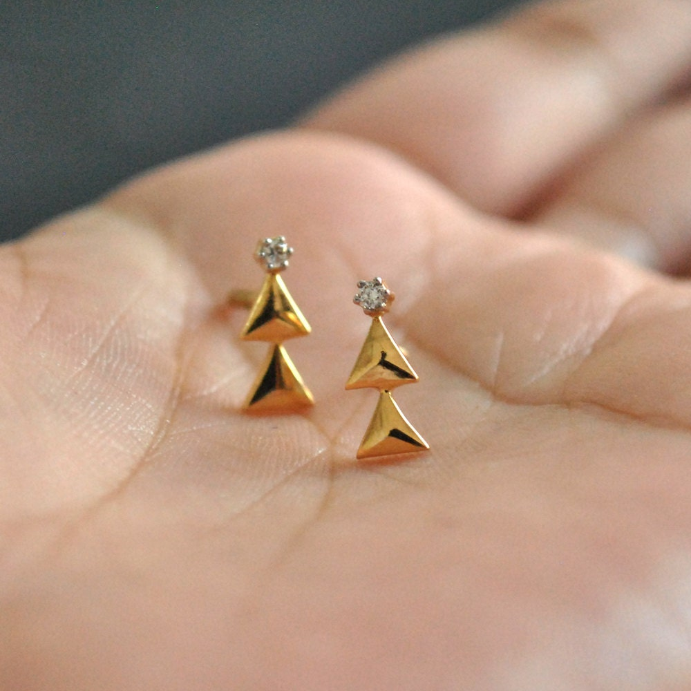 belladaar gold or products baby stud tiny solid yellow image earrings white