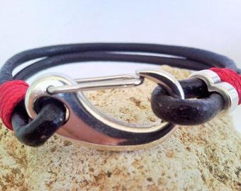 Leather Bracelet Nickel clasp Men leather bracelet Valentines Day Gift