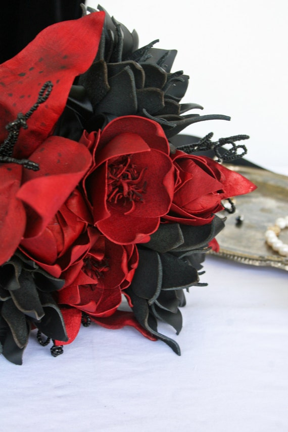 Bridal Bouquet, Leather Black and Red Flower Bridal Bouquet