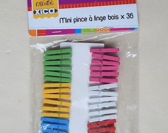 Lot 36 mini clothespins multicolored wood