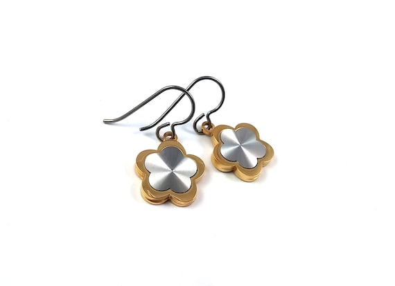 Gold and silver flower dangle earrings - Hypoallergenic pure titanium and stainless steel