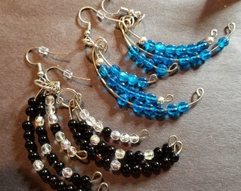Feathers Earrings, Waterfall Earrings, Cascading Dangles, Cascade Earrings, Cascading Earrings, Waterfall Dangles, Blue, Black and Crystal